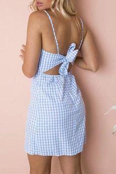 Gingham Back Bowtie Mini Dress – Lupsona