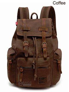 Travel Canvas Leather Sport Rucksack Camping Satchel Laptop Hiking Bag Backpack Dark Brown Coffee  #backpack #fashion #shoulderbags #WomenWallets #bagshop #Happy4Sales #YLEY #L09582 #bag #highschool #handbags #kids