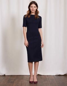 You can't help but have a little wiggle in your walk when wearing this figure-loving dress. Our vintage shape, in super-flattering premium stretch fabric, has seam details on the front and back to nip you in at the waist. Falling just below the knee, this little number is playful yet effortlessly elegant.