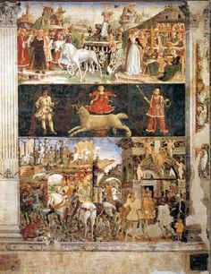 (Embroidering with trestle frames in upper right corner) Allegory of March: Triumph of Minerva  1476-84 Fresco, 500 x 320 cm Palazzo Schifanoia, Ferrara