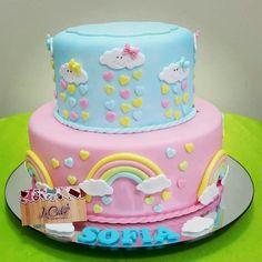 Baby Shower Cakes, Simple Cake Designs, Cloud Cake, Cake Decorating With Fondant, Baby Birthday Cakes, Rainbow Birthday, Fun Cupcakes, Girl Cakes, Party Cakes