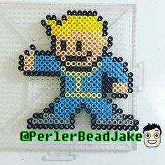 Vault Boy Fallout perler beads by  perlerbeadjake
