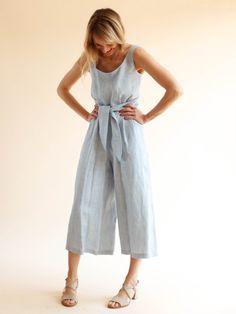 No. 6 - Alice Jumpsuit - Blue Stripe Linen