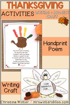 Thanksgiving ideas for kids to use in the classroom including activities like: Thanksgiving turkey crafts, turkey handprint poem, Thanksgiving games and free Thanksgiving printables! #thanksgivingideasforkids #thanksgivingcrafts #freethanksgivingprintables