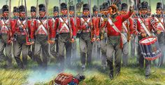 British line infantry marching forward at the Battle of Waterloo