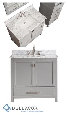 63 Ideas Bathroom Vanity 36 Inch Brushed Nickel For 2019 42 Inch Bathroom Vanity, 36 Inch Vanity, Best Bathroom Vanities, Bathroom Vanity Cabinets, Bathroom Renos, Bathroom Renovations, Bathroom Ideas, Yellow Bathrooms, White Bathroom