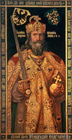nach Albrecht Dürer - Karl der Große, (747-814) König der Franken, Kaiser, im Krönungsornat, c.1512-12