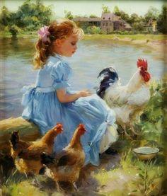 Little Girl & Her Chickens - Konstantin Razumov
