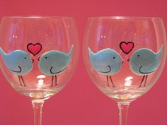 Hand Painted Wine Glasses- love birds by prettymydrink, via Flickr