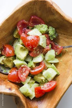 I love this simple salad with avocado and tomatoes and the easiest dressing ever. I'm officially addicted, and it's healthy!