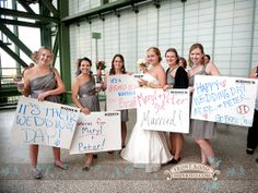Have your entire wedding reception at a Brewers Game! Photo by Front Room Photography. See 25 more fun Milwaukee wedding ideas here: http://www.marriedinmilwaukee.com/milwuakee-wedding-ideas