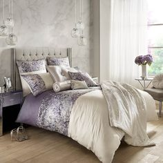 New Spring Summer 2018 Collection by Kylie Minogue Kylie Minogue Marisa Mauve Full Bedding Set In beautiful tones of mauve, Marisa is an eclectic mix of soft printed satin and sequins. This stunning floral bedding is glamorously finished with a mixture Mauve Bedding, Mauve Bedroom, Bedroom Decor, Floral Bedding, Bedroom Ideas, Bedroom Colors, Bedroom Inspiration, Super King Duvet Covers, Double Duvet Covers