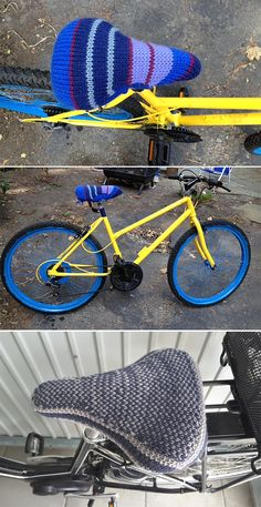 Free Knitting Pattern for Easy Bike Seat Cover - Add style and comfort to your bicycle with this cozy. Also works great for stationary exercise bikes and yarn bombing bikes. Designed by Lion Brand Yarn.One size, about 7 in. (18 cm) at widest point and about 11 1/2 in. (29 cm) at longest point, will stretch to fit a range of bike seats. Great stashbuster because it only uses144 yards (132 m) of bulky yarn. Rated easy by Ravelrers. Pictured projects bysallycknits anddoemmy