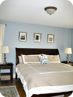 """Our bedroom, painted with Benjamin Moore's Santorini Blue. Pottery Barn """"Valencia"""" furniture."""