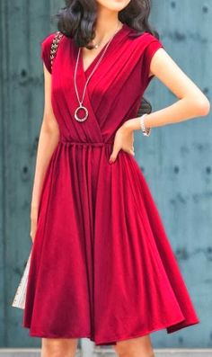 clothing outfit style fashion apparel women red dark dress necklace bracelet | Gloss Fashionista
