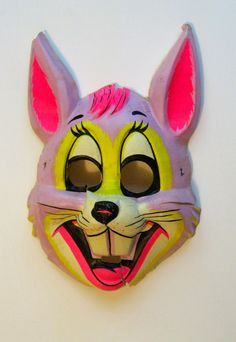 Ben Cooper or Collegeville likely Halloween costume Harvey by PickleladyVintage on Etsy Retro Halloween, Halloween Items, Halloween Masks, Costume Halloween, Halloween Makeup, Halloween Party, Awesome Pumpkin Carvings, Ceramic Mask, Bunny Mask