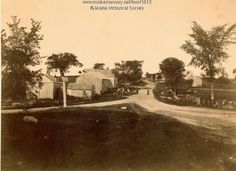 East Poland,  1889. The buildings at the left were owned by the Pulsifer family: a store, post office and community hall were used until the 1940's. Item # 1015 on Maine Memory Network
