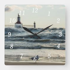 Force Behind Beauty Square Wall Clock St Joseph Lighthouse, Crashing Waves, Great Lakes, Lake Michigan, Wall Clocks, Black And Grey, In This Moment, Prints, Image