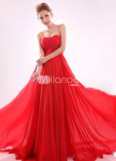 9066f825d4c6b1 Red Sweetheart Empire Waist Ruched Chiffon Woman s Evening Dress