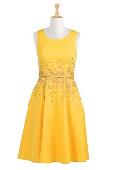 Sunshine Floral Cotton Poplin Dresses, Cotton Poplin Sleeveless Dresses Women's sleeveless dresses - Dresses, Cocktail Dresses, Party Dresses - CL0036099 | eShakti