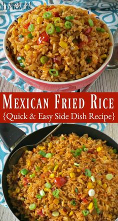 This Mexican Fried Rice recipe is a delicious twist on traditional Mexican rice. This is cooked like fried rice to give it a crisper texture but has the flavors of Mexican style rice. It is a great way to use precooked or leftover rice in an easy southwes Mexican Fried Rice, Mexican Fries, Mexican Rice Recipes, Rice Recipes For Dinner, Vegetarian Recipes, Cooking Recipes, Easy Mexican Rice, Leftover Rice Recipes, Vegetarian Mexican Rice