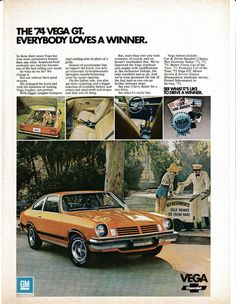 car chevrolet 1974 Chevrolet Vega GT-Ice Cream Cart -Drive A Winner-Original Magazine Ad Chevrolet Vega, Chevrolet Corvette, Palm Springs California, Bentley Continental Gt, Ford Mustang Shelby, Can Am, Palm Beach, Models Men, Ford Classic Cars