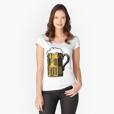 'Cold Beer' Fitted Scoop T-Shirt by Beer-Bones My T Shirt, Cap Sleeves, Bones, Shirt Designs, Slim, Cold, Printed, Awesome, Fitness