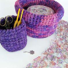 Crochet basket kit... crochet your own perfectly portable wool yarn bowl :)