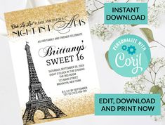 Paris Eiffel Tower Sweet 16 Invitation #1 | Digital INSTANT DOWNLOAD Editable Invite | Gold Sparkle Glitter | Sweet 16 Party Invite by PurplePaperGraphics on Etsy Kids Birthday Party Invitations, Sweet 16 Invitations, Engagement Party Invitations, Printable Invitations, Sparkles Glitter, Gold Sparkle, Hanging Mason Jars, Sweet 16 Parties, Paris Eiffel Tower
