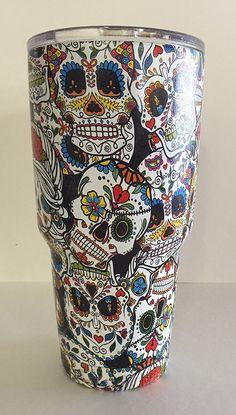 30 ounce custom Yeti Rambler Tumbler hydro dipped with sugar skulls pattern  - My Sugar Skulls 2051797ca43