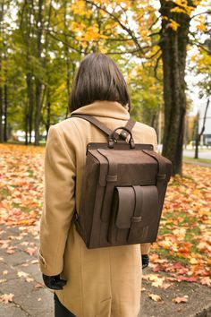 """Handmade womens leather backpack -stylish everyday rucksack for an active person. Fits 13"""" laptop. Find out more- pres on thee pic!"""