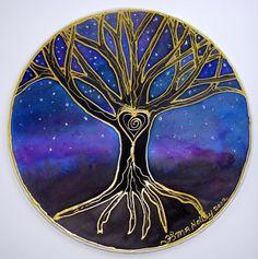 Mandala arte, don espiritual, mandala árbol, árbol de la sabiduría, árbol de la vida, arte árboles, espiritual del árbol arte, meditación, pagan, wiccan,