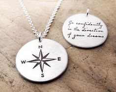 Graduation, Thoreau inspirational quote necklace, Compass necklace, Compass Rose, Go confidently in the direction of your dreams Compass Necklace, Compass Jewelry, Compass Tattoo, Rose Necklace, Men Necklace, Retirement Gifts For Women, Compass Rose, Diamond Solitaire Necklace, Graduation Gifts