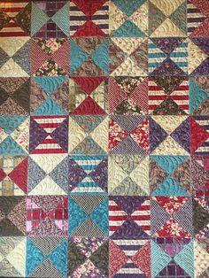 Handmade Quilt Hourglass Patchwork Throw Quilt Lap Quilts