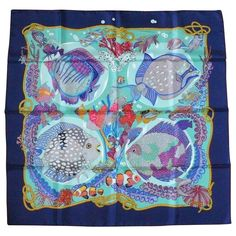 "Hermes Vintage Silk Carre Scarf ""Grands Fonds"" by Annie Faivre 1992 