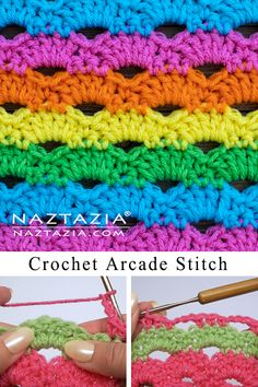 You'll learn how to crochet the arcade stitch also called the arch stitch in this tutorial video. Hi I'm Donna Wolfe from Naztazia. Crochet Stitches Free, Crochet Shell Stitch, Crochet Motifs, Crochet Flower Patterns, Afghan Crochet Patterns, Crochet Basics, Knitting Patterns, Crochet Ripple, Granny Square Crochet Pattern