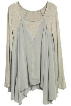 ROMWE   Asymmetric Chiffon Grey T-shirt, The Latest Street Fashion #Romwe