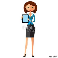 Vector: Business woman showing something important on the tablet vector cartoon illustration.