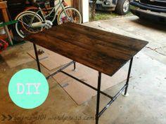 DIY Industrial Desk, Table, Pipe, conduit, wood