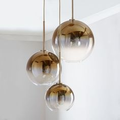 Sculptural Glass Round Globe, Chandelier, S-M-L Globe, Silver Ombre Shade, Bronze Canopy at West Elm Mobile Chandelier, 3 Light Chandelier, Globe Chandelier, Pendant Lighting, Chandelier Ideas, Globe Pendant, West Elm Pendant Light, Ceiling Lighting, Modern Chandelier