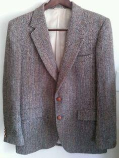 Mens Harris Tweed Sport Coat Jacket Blazer made for Stafford size 38R #HarrisTweed #TwoButton