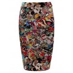 Falda de Tubo Corta Multicolor F76 Graffiti Prints, Barbie Dolls, Retro, My Style, Lady, Womens Fashion, Skirts, Outfits, Pencil Skirts