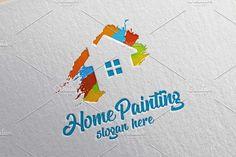 Home Painting Vector Logo Design 2 by denayunebgt on @creativemarket