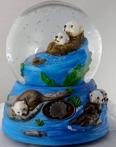 """Sculptured Sea Otter Family Snow Globe - Water Ball Music Box """" The Pearl Fishers """" 5 3/4"""" High by Sculptured Resin Snow Globes,   ANY Snow Globes. She collects them. She also collects OTTERS and Loves ICE SKATING"""