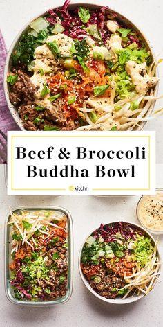 Recipe: Beef and Broccoli Buddha Bowls - Ensalada Marisco Ideas Asian Recipes, Beef Recipes, Cooking Recipes, Healthy Recipes, Sweets Recipes, Easy Recipes, Recipies, Clean Eating, Healthy Eating