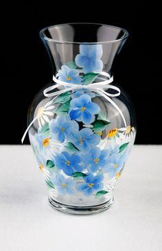 Hand Painted Blue Flowered Vase. $25.00, via Etsy.