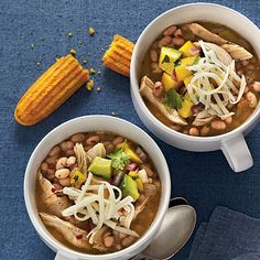 White Lightning Chicken Chili - Easy One-Dish Dinners - Southernliving. Recipe: White Lightning Chicken Chili White Lightning Chicken Chili gets… Chili Recipes, Soup Recipes, Dinner Recipes, Cooking Recipes, Dinner Ideas, Oven Recipes, Cooking Food, Freezable Recipes, Holiday Recipes