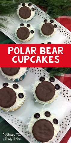 Polar Bear Cupcakes - these look like there is actually snow on the paws! A cute winter treat recipe.