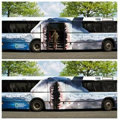 If you are going to advertise on a bus better make it like this -smart creative and visually stunning design #jaws