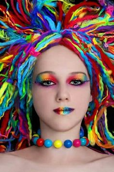 Very cool and wild colored hair, eyes and lips